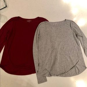 Two LOFT Shirttail Hem Long Sleeve Tops